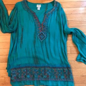 Chico's BOGO top in pretty blues, oranges, beads.